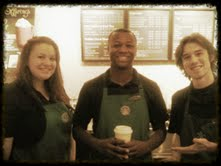 The most amazing coffee pushers. Ty'ris (the fellow in the middle) actually performed a rap for me. I demonstrated my beat boxing skills. He laughed. Hm...
