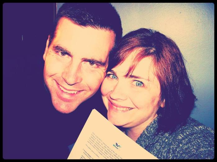 Jeff and me and the contract for My Mother's Chamomile