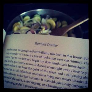 Reading while cooking.