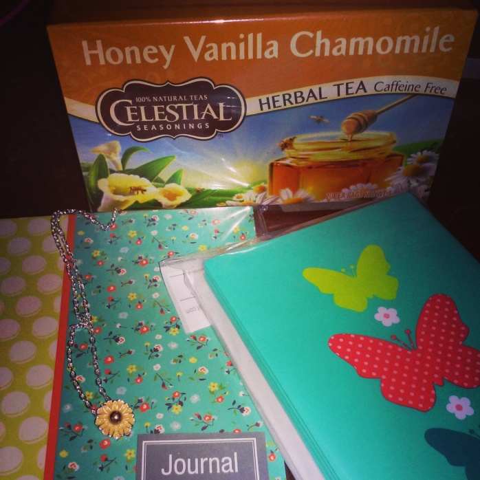 You could win a small journal, note cards, a dainty necklace, and a box of chamomile tea!